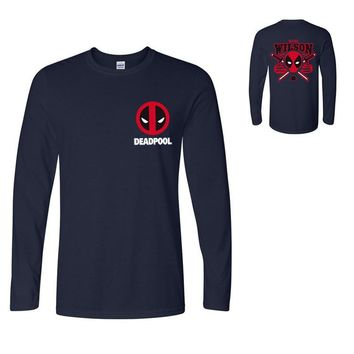 Deadpool men long sleeve t shirts street wear hip hop