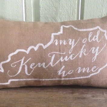 "Burlap Pillow, University of Kentucky- ""My Old Kentucky Home"", State of Kentucky - Made to Order, Graduation Gift"
