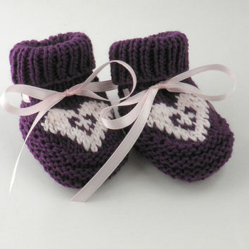 Knit Baby Booties Purple Heart Baby Girl Shower Gift Newborn Baby Shoes Size 0 to 3 months