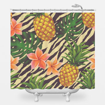 Pineapple on Zebra Shower Curtain