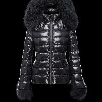 Moncler Women's Hidden Hood Zip-Front Down Jacket