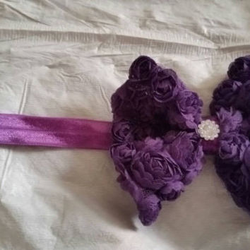 Purple Rosettes Bow Stretch Headband with Acrylic Crystal Accent for a Little Girl or Teen Photo Prop Gifts for Her