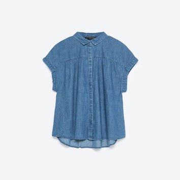 GATHERED DENIM SHIRT