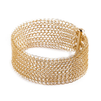 Narrow gold cuff bracelet Knitted jewelry
