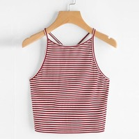 Red Striped Crop Tops Sexy Bustier Tank Top Sexy Girls Goth Cropped Woman Sleeveless Bodycon Tank Top Tomara Que Caia#99