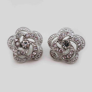 Bridal Stud Earrings Flower Wedding Earrings Rhinestone Studs Bridal Crystal Earrings Wedding Jewelry for Bridesmaids Bridal Statement Rose