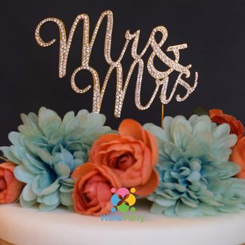 Mr & Mrs Cake Topper Silver Gold Rhinestone