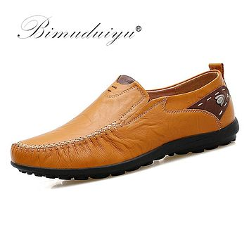 Slip on Comfortable Leather Handmade Men Casual Moccasins Male Breathable Driving Shoes
