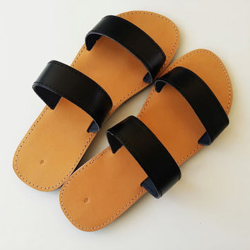 Summer Flat Sandals - Black Greek Women Leather Sandals