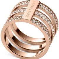 Michael Kors Clear Pavé Tri-Stack Ring