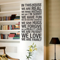 Quote wall decal - In this House - Wall Decals , Home WallArt Decals