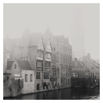 black and white photography, bruges photograph, belgium, europe, architecture photograph, travel photography, river, fog, wanderlust