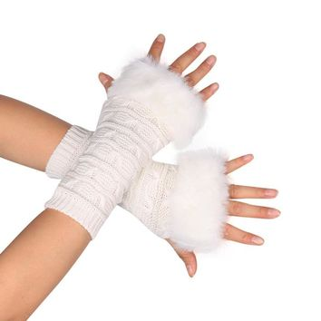 Mooistar #4066D  2017 Butterfly Knitted Arm Fingerless Winter Gloves Soft Warm Mitten