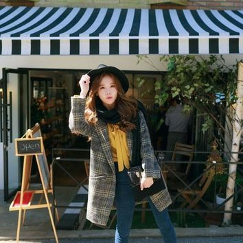 2015 New Winter Coat In The Long Section Of A Korean Korean Button Loose Plaid Wool Coat Women's Female = 1930290308