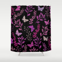 Watercolor flowers & butterflies III Shower Curtain by uniqued