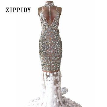 Luxurious Rhinestones  Dress Glisten Stones Evening Long Train Flowers Dress Women Prom Birthday Celebrate Silver Dresses