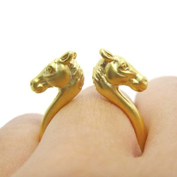 Double Horse Pony Head Shaped Sleek Ring in Gold | Animal Jewelry