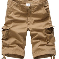 Khaki Pockets Detail Cropped Pants