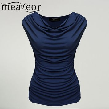 Meaneor Women Cowl Neck T-shirts tops women Sleeveless t-shirt tops Ruched Slim Tshirts Navy Blue Solid tops summer  S-XL