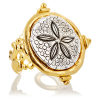 Hand-Cast Gold & Silver Sand Dollar Ring, Stone & Novelty Rings