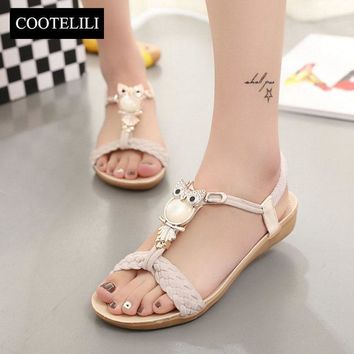 COOTELILI 36-40 Plus Size Summer Flat Woman Shoes Fashion Bohemian Sandals Crystal Owl