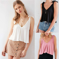 Casual Women V-Neck Vest Summer Loose Chiffon Sleeveless Tank T-Shirt Top Blouse