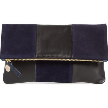 Clare V. Leather & Suede Foldover Clutch | Nordstrom