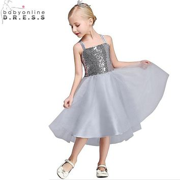Vestidos de Primera Comunion Real Image Sequin Spaghetti Straps Gray Flower Girl Dresses 2017 First Communion Dresses for Girls