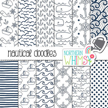 Navy and White Digital Paper -  nautical doodle boat, whale, wave, helm & anchor seamless patterns - scrapbook paper - commercial use OK