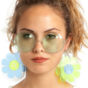 Happy & Sad Daisy Flower Earrings