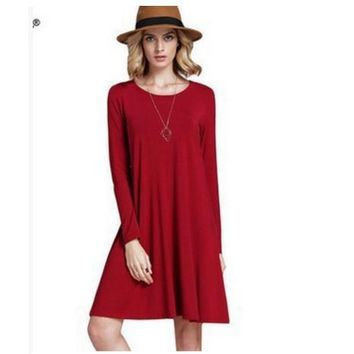 Pure color long sleeve loose thin dress more color code 5-color Red