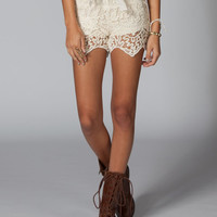 Lost Coronado Lace Tier Womens Shorts Cream  In Sizes