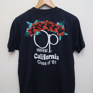 Vintage OCEAN PACIFIC Sunwear California T Shirt Dark Blue Size M