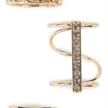 Set of 3 Stackable Ring Set with Stones