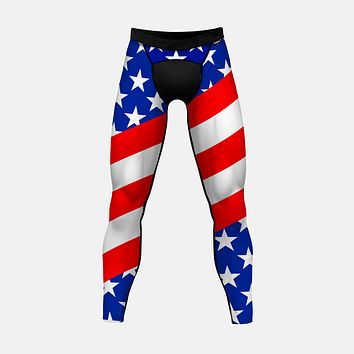 USA America Flag Tights for men