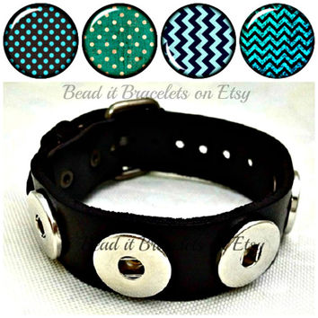 Polka dots and blue Chevron snap charms plus a wide chunky Noosa or Gingersnap style Black leather Bracelet. Free Shipping to US and Canada
