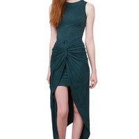 Get Out Of Town Suede Dress - Teal