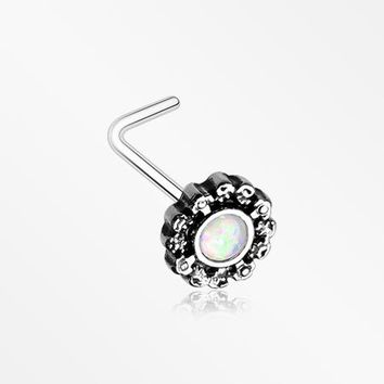 Filigree Opal L-Shaped Nose Ring