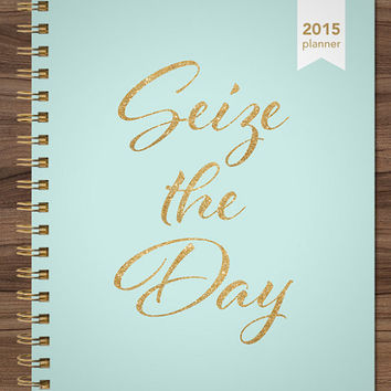 2015 planner custom planner student planner HORIZONTAL LAYOUT weekly monthly calendar agenda daytimer / mint gold glitter seize the day