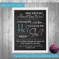 Gender Reveal/Baby Shower Sign (Printable FIle Only) Chalkboard-Style Baby Shower Sign; DIY Baby Shower SIgn; Baby Shower Printables
