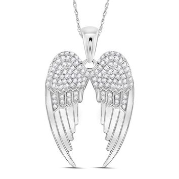Sterling Silver Womens Round Diamond Angel Wings Pendant 3-8 Cttw