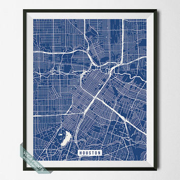 Houston Print, Texas Poster, Houston Street Map, Texas Map Print, Modern Decor, Office Decoration, Street Map, Back To School