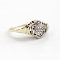 Antique 14k Yellow & White Gold Art Deco Diamond Ring- Size 5 1/4 Vintage Filigree 1920s Wedding Engagement Fine Jewelry