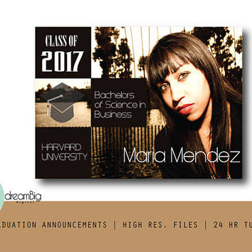 Graduation Announcements, 2017 Announcements, Graduation Invitations, College Invitations, Grad Invites, Class of 2017