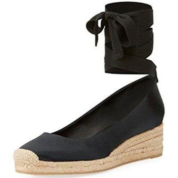 LMF3DS Tory Burch Heather Lace Up Satin Wedge Espadrilles, Black