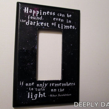 Happiness Can Be Found Quote Jumbo TOGGLE Light Switch Plate GFI Decora style Switchplate