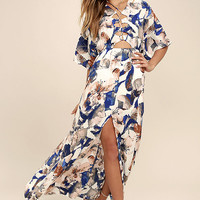 Loveliest of All White Floral Print Lace-Up Maxi Dress