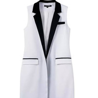 White Extra Long Sleeveless Vest