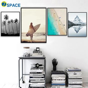 Canvas Wall Art: Beach, Palm Tree, Surfer and Mountain Wall Art Print for Home or Business Decor