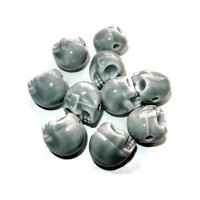 Grey Porcelain Sugar Skull Beads, 10 Beads